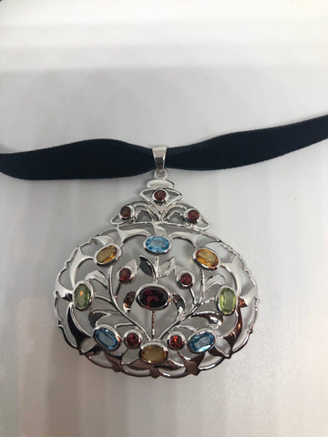 Vintage Handmade 925 Sterling Silver Genuine Garnet, mixed gemstone  and Citrine Antique Pendant Necklace