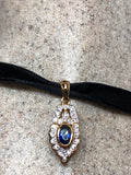 Nemesis Vintage Handmade 925 Sterling Silver Gold Rhodium Finish Sapphire Pendant