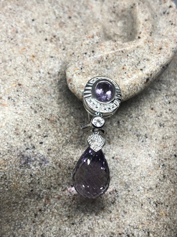 Nemesis Vintage Handmade 925  Sterling Silver Amethyst Omega earrings