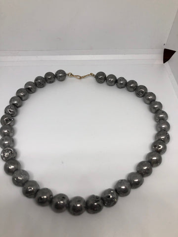 Vintage Handmade 925 Sterling Silver Rhodium Hemetite Druzy 17 inch beaded necklace