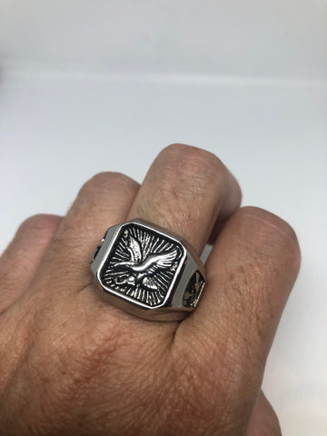 Vintage American Eagle Silver Stainless Steel Mens Ring