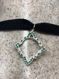 Vintage Green Emerald Heart Choker Necklace 925 Sterling Pendant
