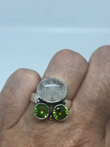 Vintage Large blue white rainbow moonstone peridot stone silver ring
