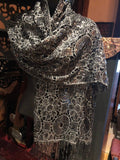 Vintage Styled Sheer black flower Sequined embroidered wrap Shawl
