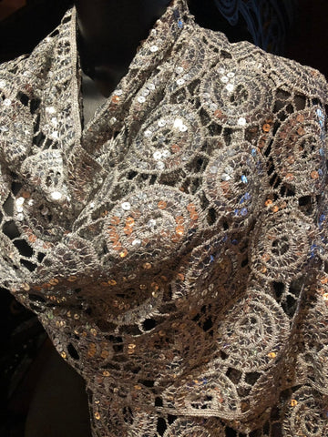 Vitage Styled Sheer silver flower Sequined embroidered wrap Shawl