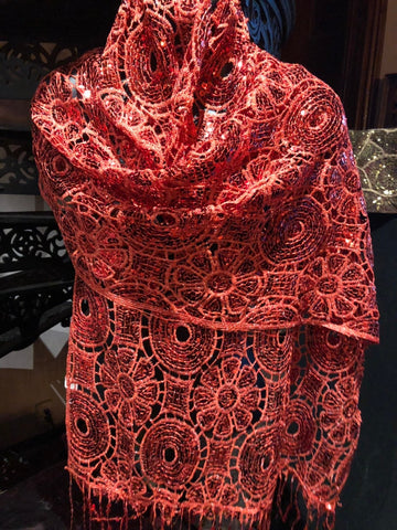 Vintage Styled Sheer red flower Sequined embroidered wrap Shawl