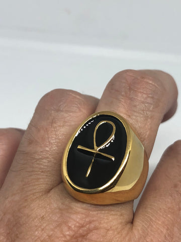 Vintage Golden Stainless Steel Gothic Egyptian Ankh Mens Ring