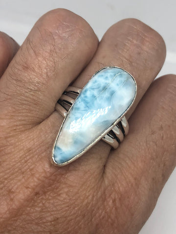 Vintage geniune blue Amazonite Silver Ring
