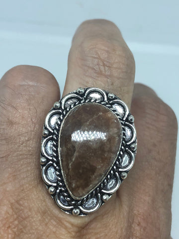 Vintage Handmade Sandstone agate white bronze Silver Gothic Ring