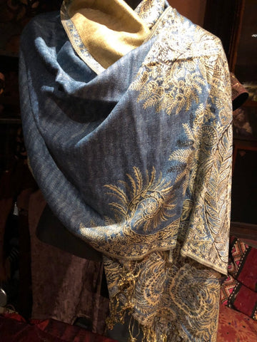 Vintage light denim blue Paisley Brocade Pashmina Scarf Wrap shawl
