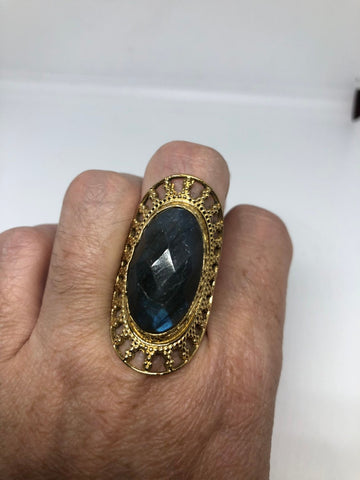 Vintage Large Labradorite adjustable bronze ring