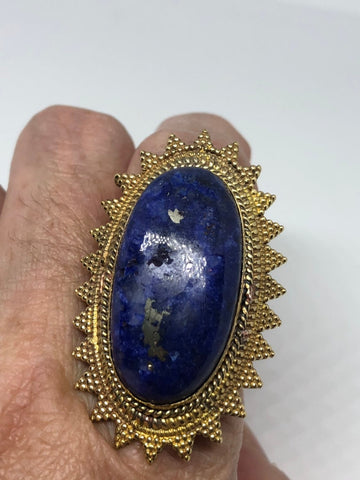 Vintage Large Lapis Lazuli adjustable bronze ring