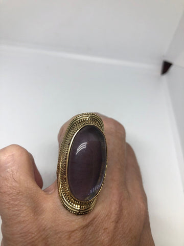 Amethyst Brass knuckle adjustable ring