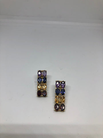 Vintage Mixed Genuine Gemstone filigree 925 Sterling Silver dangle button earrings