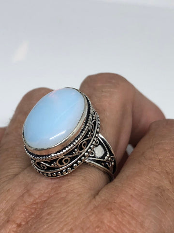 Vintage deep blue opal vintage Art Glass ring about an inch long ring