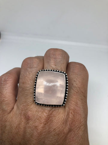Vintage 1970's Genuine Rose Quartz Silver Statement Ring