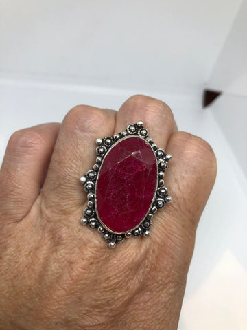 Vintage Handmade Raw Pink Ruby Silver gothic Ring