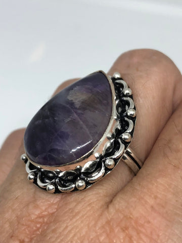 Vintage Blue Genuine Amethyst adjustable ring
