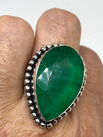 Antique Green Emerald Chrysopraise 925 Sterling Silver Ring