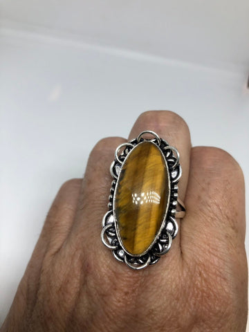 Vintage Tiger's Eye stone silver ring