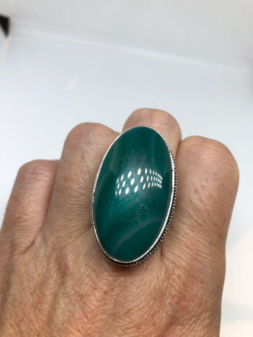 Vintage Green Agate Silver ring about an inch long knuckle ring