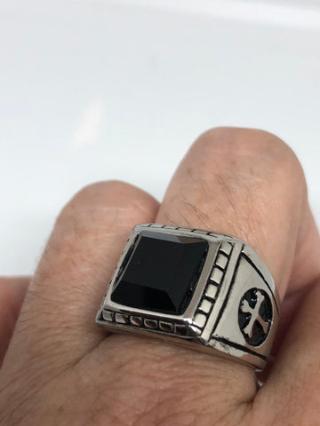 Vintage Gothic Black Onyx stainless steel cross Mens Ring