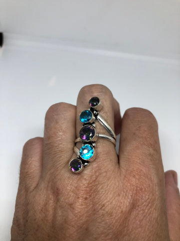 Vintage genuine mystic blue topaz Blue stone silver Ring
