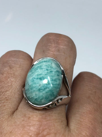 Vintage geniune blue Amazonite 925 sterling silver Ring