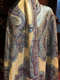 Purple Blue Metallic Vintage Paisley Brocade Pashmina Scarf Wrap shawl