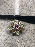 Vintage Handmade 925 Sterling Silver Genuine Citrine Peridot and tourmaline Antique Pendant Necklace