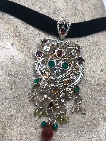 Nemesis Vintage Handmade 925 Sterling Silver Genuine Garnet, mixed gemstone  and Citrine Antique Pendant Necklace