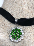Vintage Green Choker Deco Chrome Diopside 925 Sterling Silver Pendant Necklace