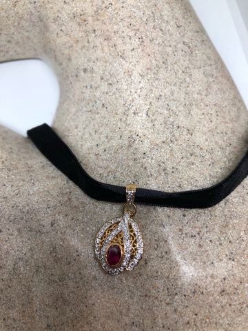 Vintage Handmade 925 Sterling Silver Gold Rhodium Finish Ruby Pendant
