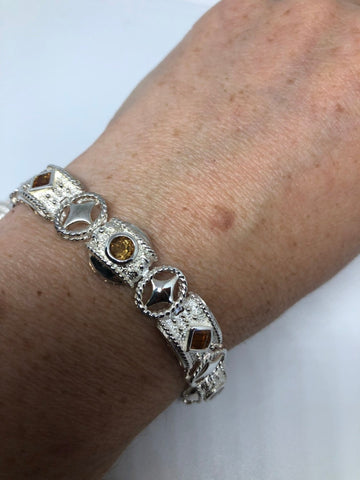 Vintage Genuine Golden Citrine 925 Sterling Silver Bracelet