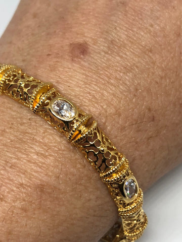 Vintage Handmade Cubic Zirconia gold Rhodium Finished Sterling Silver Tennis Bracelet
