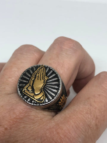 Vintage Gothic silver Stainless Steel praying hands sacred heart Mens Ring
