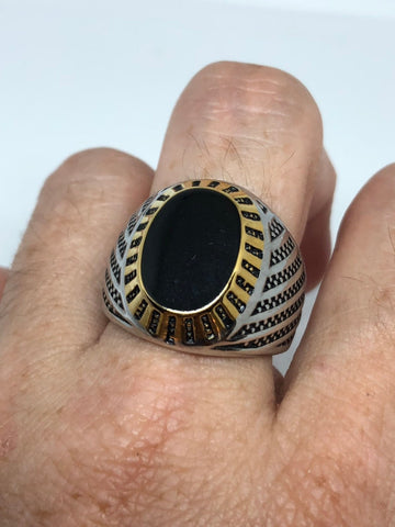 Vintage Gothic Black Genuine Onyx stainless steel Mens Ring