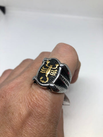 Vintage Golden Stainless Steel Gothic Scorpion Mens Ring