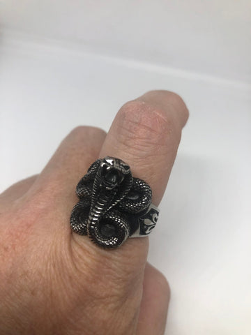 Vintage Gothic Stainless Steel Snake Serpant Mens Ring