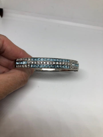 Genuine blue topaz white sapphire gemstone 92.5% Sterling Silver Bangle Bracelet