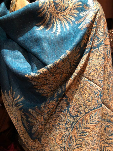 Vintage light teal blue Paisley Brocade Pashmina Scarf Wrap shawl