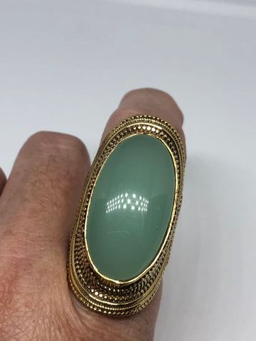 Vintage Green Genuine Chalcedony 2.5 in ring