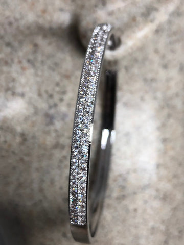 Vintage rhodium silver diamond look Austrian crystal hoop earrings