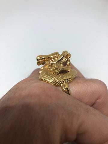 Vintage Gothic Golden Stainless Steel Dragon Mens Ring
