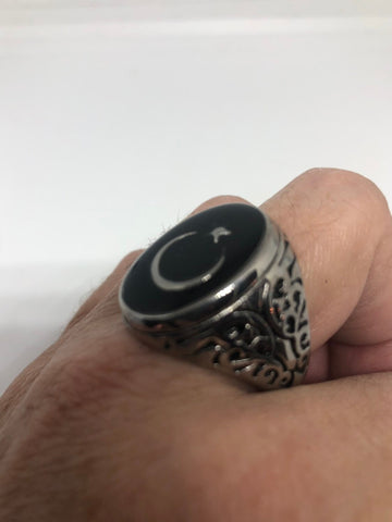 Vintage Gothic Silver Stainless Steel Muslim Star Cresant Mens Ring