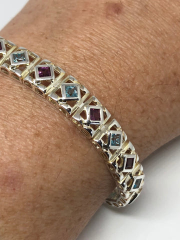 Handmade Blue Topaz Amethyst Rhodium Finished Sterling Silver Tennis Bracelet