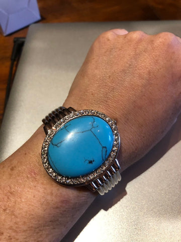 Vintage Oval Turquoise Covered Bangle Bracelet Watch