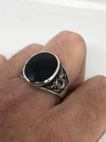 Vintage 1970 Gothic Sterling silver Genuine Black Onyx Dragon Mens Ring