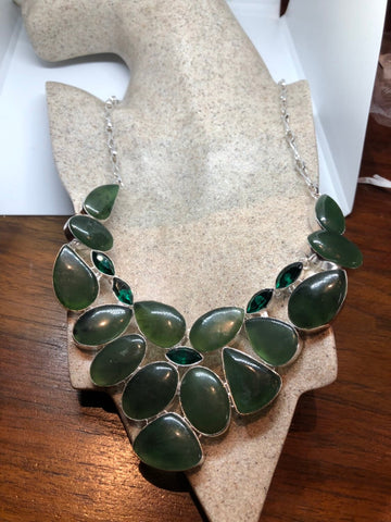 Green Handmade Gothic Styled Silver Finished Genuine Facetted Antique Glass and nephrite jade collar bib Necklace