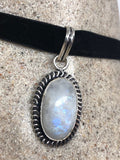 large handmade vintage engraved repose brass Rainbow Moonstone pendant